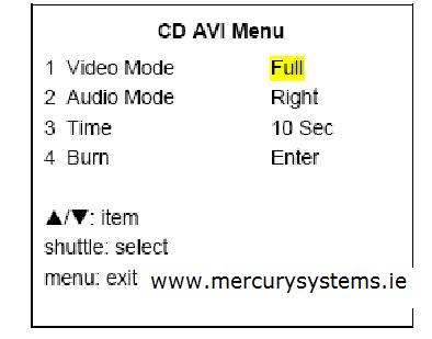 edvr video to cd menu